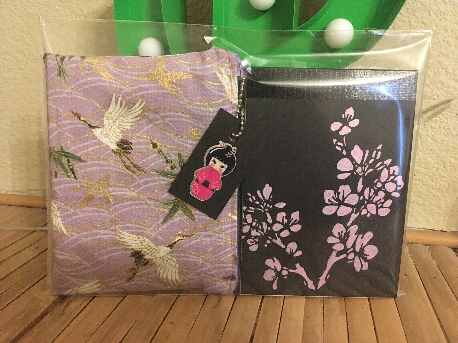 Oriental Lilac Crane Bird Cherry Blossom A6 Notepad +cosmetic Purse 2pc Gift Set