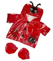 8 Red Ladybird Lovely Raincoat Coat With Boots Fits 8-10 (25cm) Teddy Bears