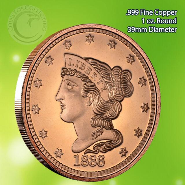 "/""1883 Liberty V Nickel/"" 1 oz .999 Copper Round"
