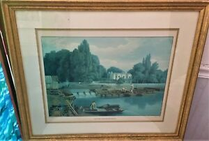 Vintage Print The Weir, from Marlow Bridge William Havell Engraved  R. Havell