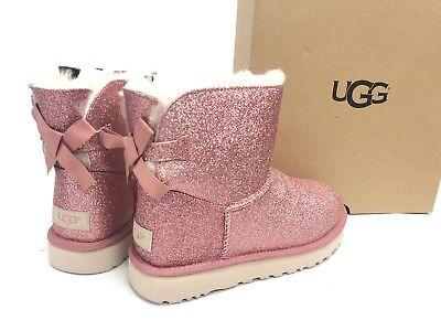 f3e8d13f403 UGG Australia Mini Bailey Bow Sparkle Pink BOOTS 1100053 Women's Glitter
