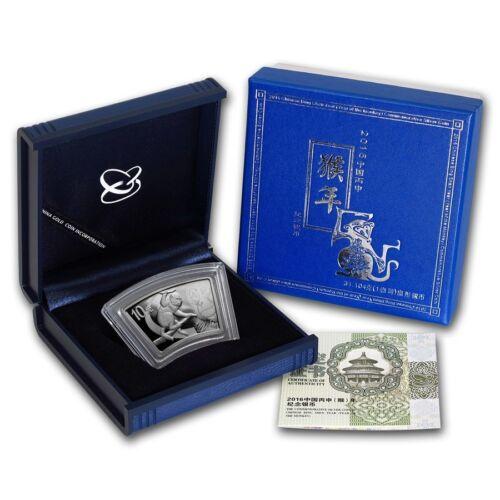 MONKEY PROOF FAN SHAPE BOX /& COA 10 YUAN CHINA 2016 1 oz Pure Silver Coin