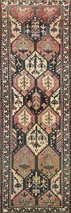 Vintage Geometric Bakhtiari Hand-knotted Runner Rug Hallway Oriental 3x9 Carpet