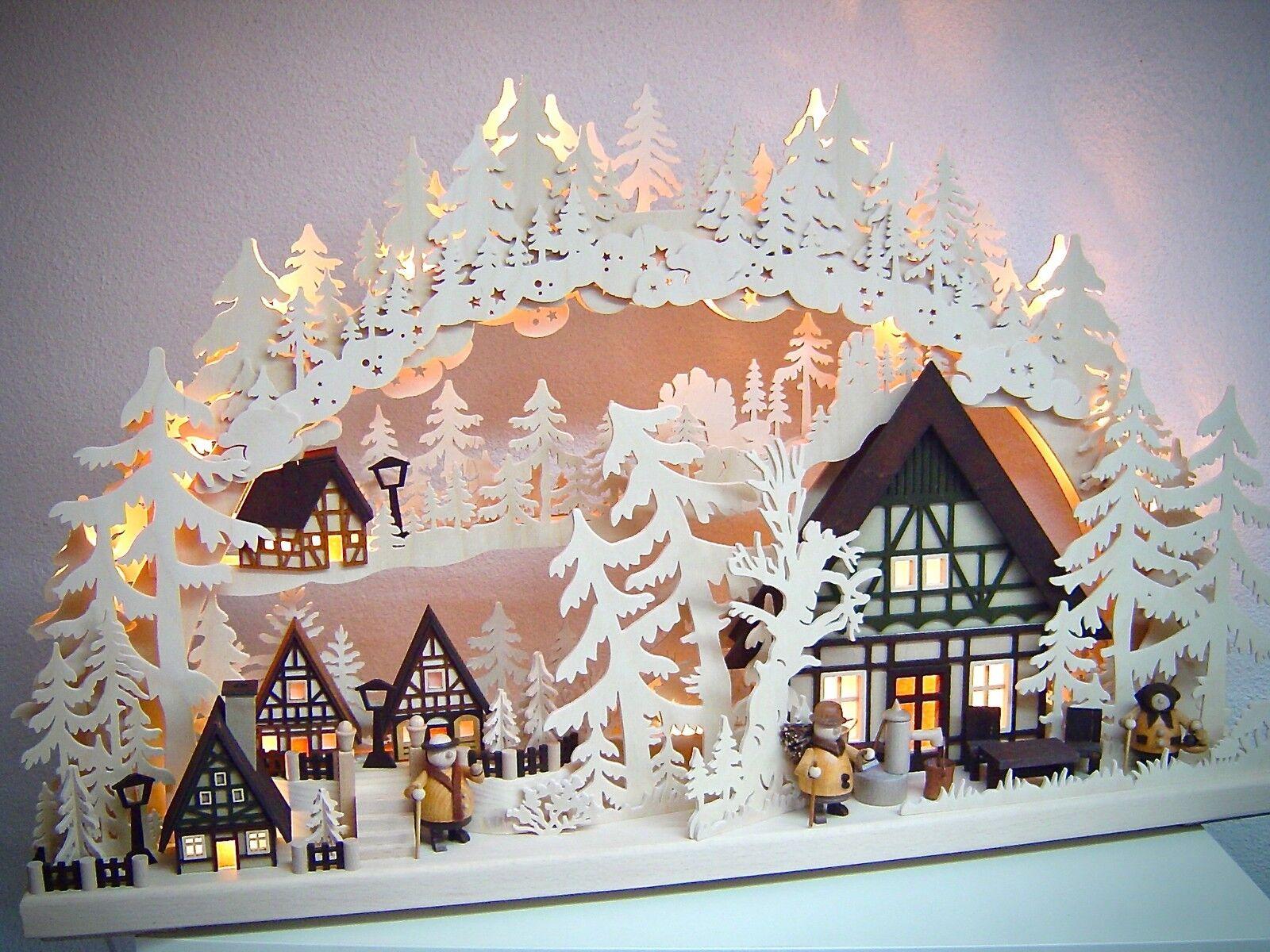 LED schwibbogen 3d avec 3 personnages village avec maisons 72 x 43 CM les Monts Métallifères Neuf 10723