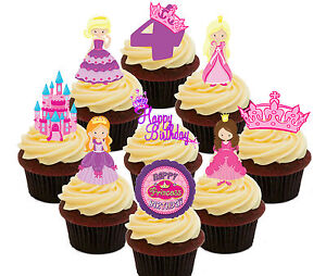 Image Is Loading 4th Birthday Princess Edible Cup Cake Toppers 36