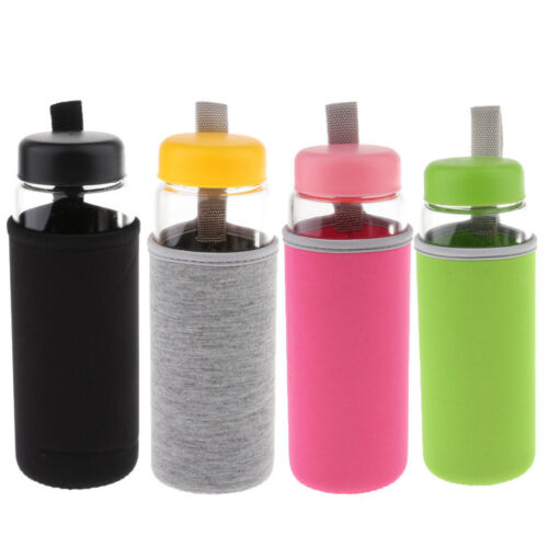 500ml Portable Glass Sports Water Bottle & Sleeve For Travel Home Office