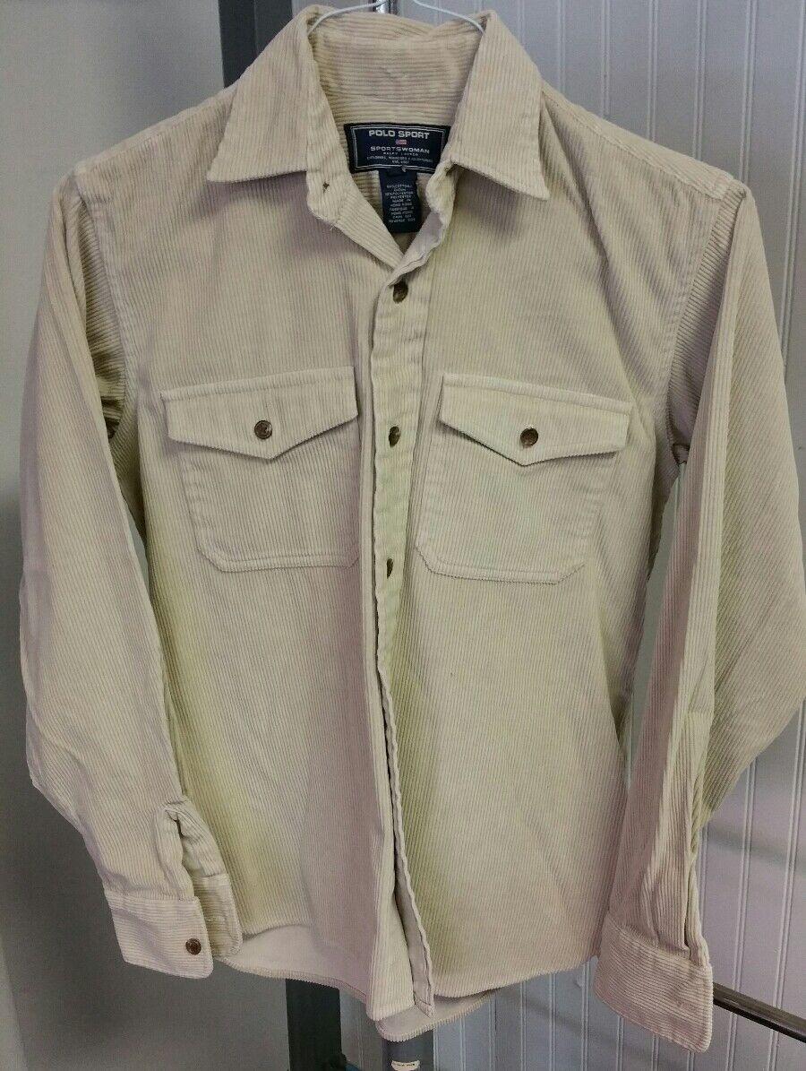 Polo Sport Ralph Lauren Sportswoman Beige Corduroy Button Long Sleeve Shirt S