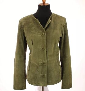 Coldwater-Creek-Womens-Suede-Leather-Jacket-Blazer-Lined-Green-Sz-Medium