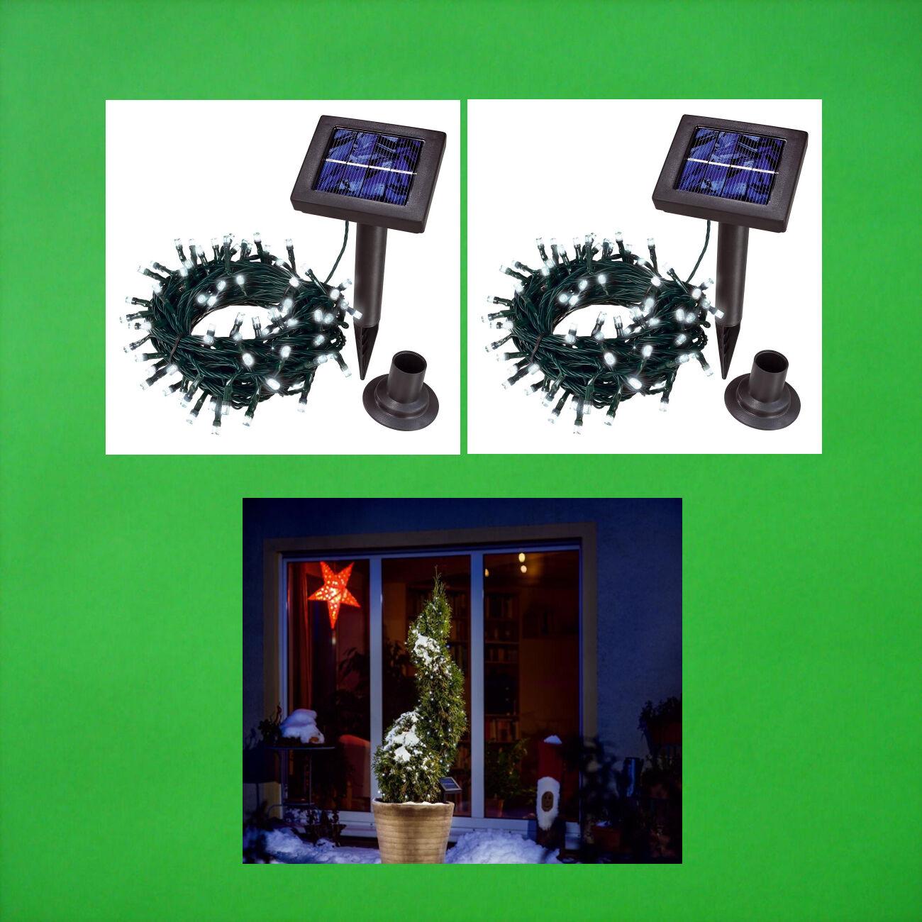 2x 100 LED SOLARLICHTERKETTE KALTWEISS LICHTERKETTE SOLAR GARTENLEUCHTE KETTE | Sale Online