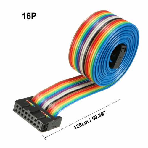 IDC 10-64 Pins Flexible Rainbow Ribbon Jumper Cable 2.54mm Pitch 66cm//128cm Long