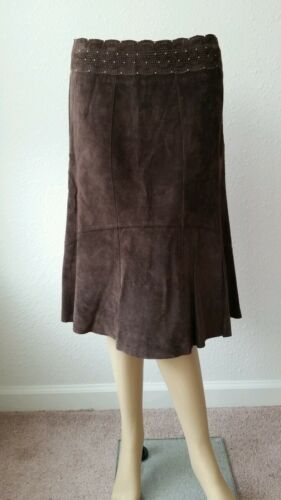 Flare Fit Suede carol Anderson Leather Brown Sz 100 Skirt Cabi Chocolate 6 wvqPdRXxT