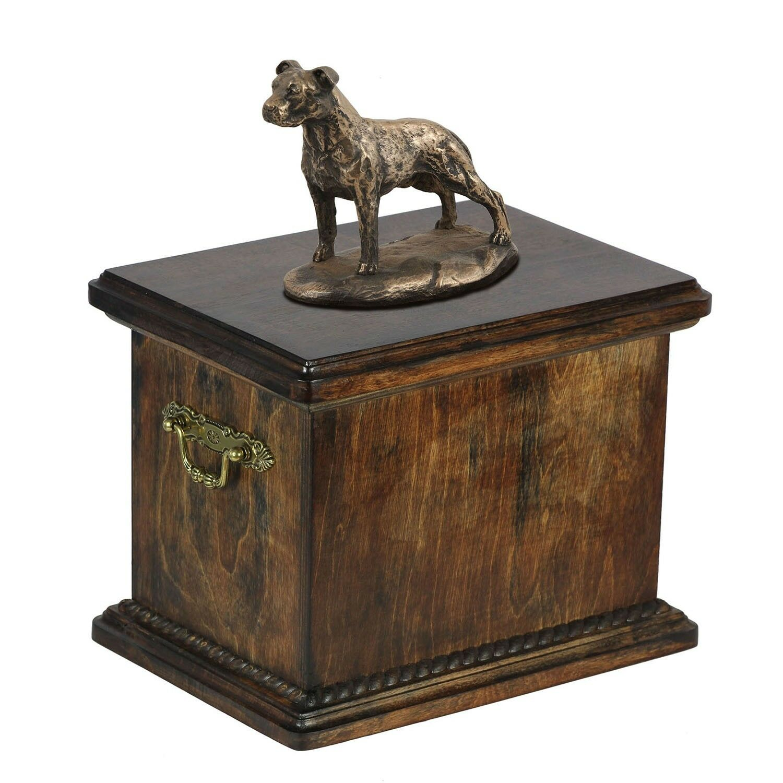 American Staffordshire Terrier type 3 - wooden urn with dog statue, ArtDog type1