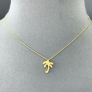 Classic simple gold finished dainty chain palm tree design pendant image is loading classic simple gold finished dainty chain palm tree aloadofball Images