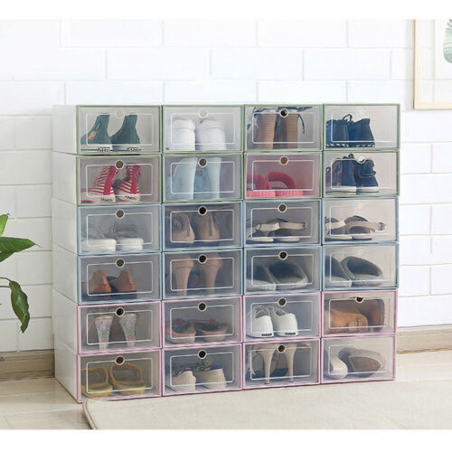 White Foldable Plastic New Shoe Storage Boxes 36 Pack Clear Plastic Stackable