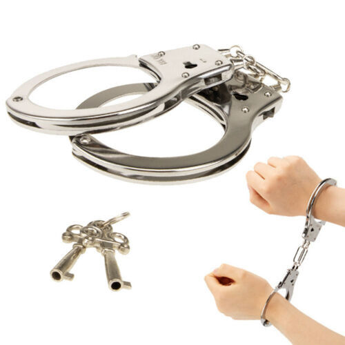 Kids Police Metal Play Set Handcuffs Toy Kids Role Play Costume Accessory