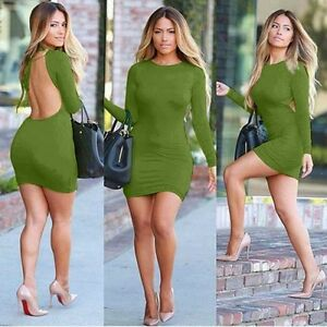 Sexy-Bodycon-Long-sleeve-Cocktail-Party-Open-Back-Pencil-Slim-Mini-Dress-BD213