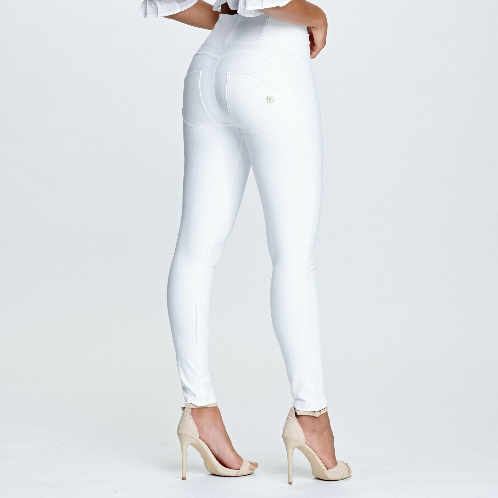 FREDDY WR.UP® SHAPING EFFECT - HIGH WAIST PANTS - SKINNY FIT -FAUX LEATHER WHITE