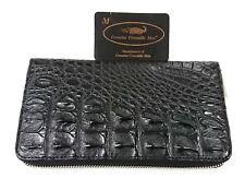 Genuine Crocodile Alligator Backbone Skin Leather Zip Checkbook Black Wallet