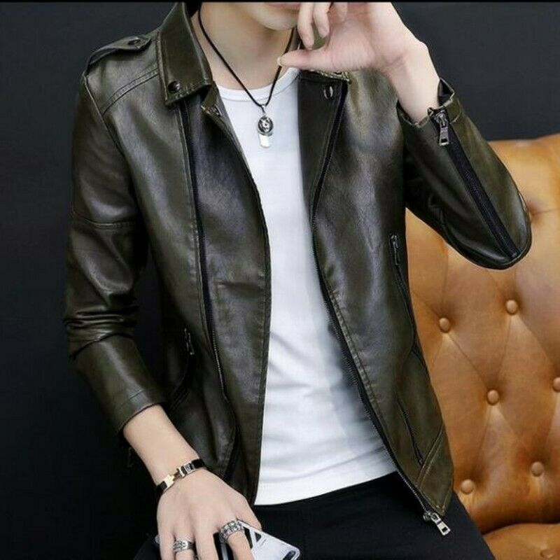 Men Coats Real Leather Lapel Zipper Motorcycle Solid Jacekt Stylish Outwear New