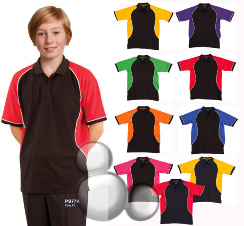 Kids Contrast Polo Shirt Size 4 6 8 10 12 14 Top School Boys Girls New!