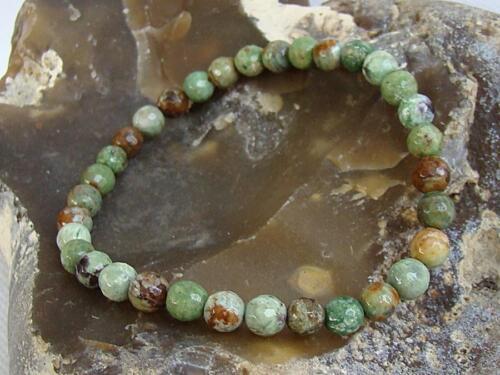 Natural Gemstone Men/'s Women/'s Elasticated bracelet 6mm GREEN OPAL beads