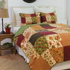Rustic Lodge Queen Size 3 Pc Quilt Set-Quilt+2 Quilted Shams Orange/Green & Gold