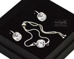 925-Silver-Adjustable-Bracelet-Set-10mm-Crystal-Clear-Crystals-from-Swarovski