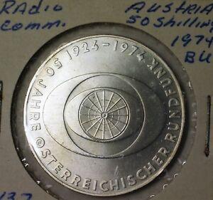 1974-Austria-50-Schillings-Radio-Broadcast-Brilliant-Uncirculated-Silver-Coin