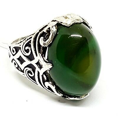 925 sterling silver men ring natural multi green color middle eastern agate