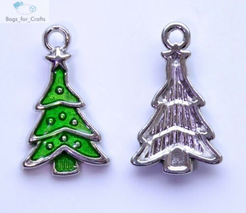 EC3 5 x Enamel Green Christmas Fir Tree Charms Pendants Xmas 23mm Silver Star