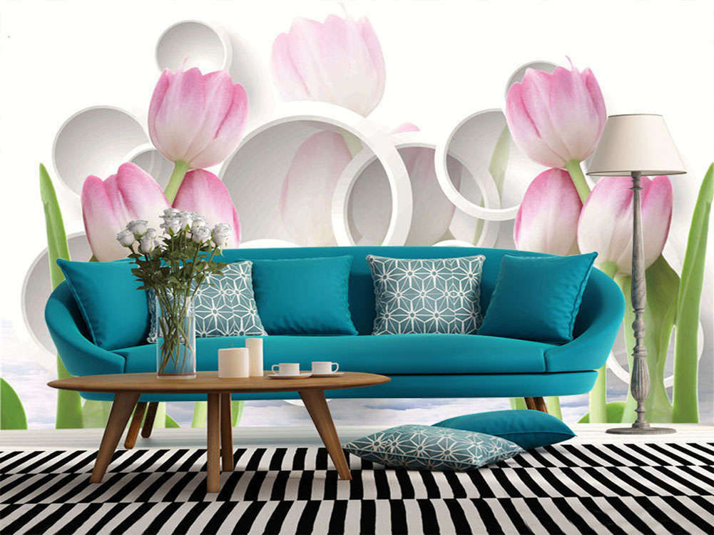 Vivid Tulip Flowers 3D Full Wall Mural Photo Wallpaper Printing Home Kids Deco