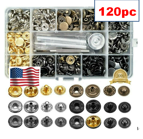 15 Sets 17mm Matte Black Heavy duty w//Tool Poppers Snap Fastener Sewing Button