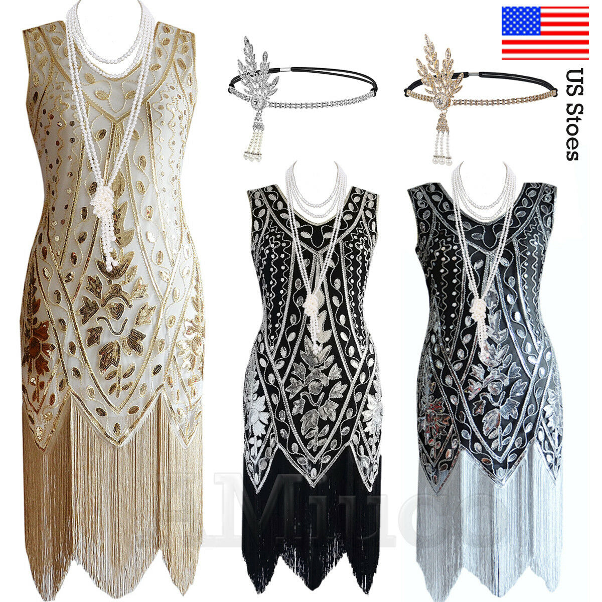 1920s Flapper Dress Gatsby 20s Party Sequin Fringe Gown Prom 30s Vintage Dresses