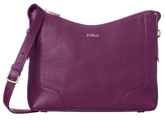 Furla Perla 783401 Pebbled Leather Crossbody Purse Aubergine Purple $298