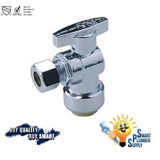 """1/4 Turn Angle Stop Valve w/ABS Straight Handle 3/8""""OD x 1/2""""PUSH-FIT (131-03-S)"""
