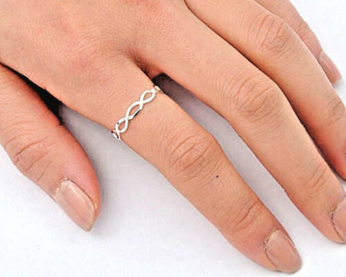 USA vendeur Tiny Infinity ring sterling silver 925 Plain BEST DEAL Bijoux Taille 2