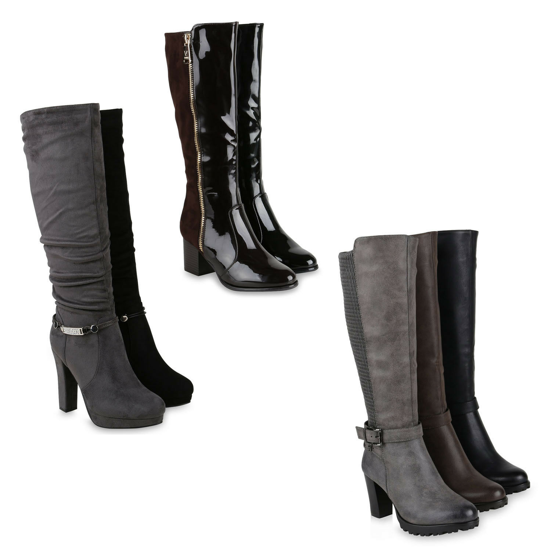 Klassische Damen Stiefel Boots Leicht Gefüttert Leder-Optik 819657 Schuhe