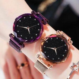 Womens-Stardust-Watch-Magnet-Starry-Mesh-Lady-Quartz-Wristwatch-Gift-Stainless
