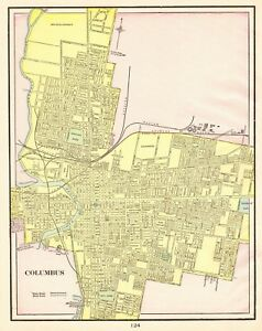 Details about 1901 Antique COLUMBUS OHIO Map Vintage Collectible Map of  Columbus 6152