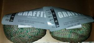 2-SKEINS-BALLS-OF-DISCONTINUED-GRAFFITI-BY-ARTFUL-YARNS-COLOR-14-GREEN