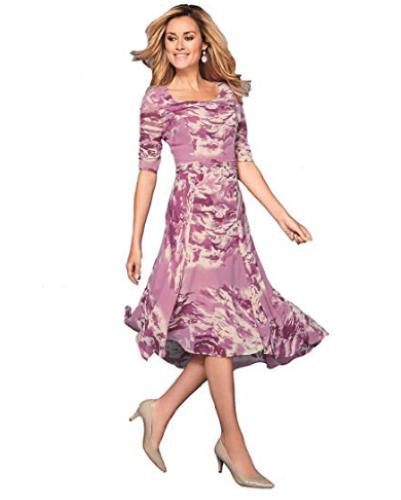 Artigiano Printed Pleat Detail Dress Rosa Größe UK 14 DH182 HH 05