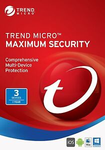 Trend Micro maximum Security 2017-1year 3device(pc/mac/android/ios)-all Language