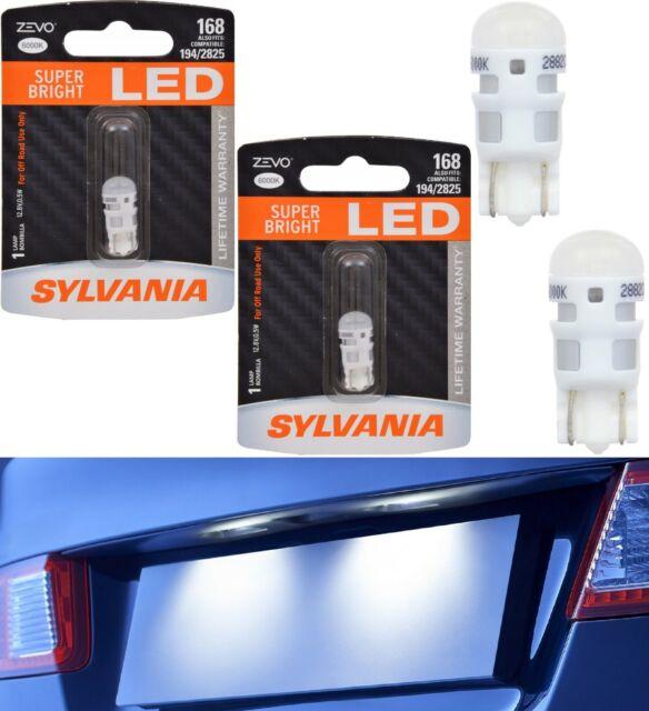 Sylvania ZEVO LED Light 168 White 6000K Two Bulbs License Plate Tag Upgrade Lamp