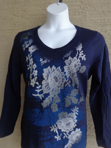 New Hanes Glitzy Graphic Cotton L//S V Neck Tee Shirt M Navy  Silver Flowers