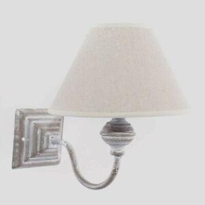 APPLIQUE-LAMPADA-a-parete-Shabby-GRIGIO-PARALUME-TESSUTO-ECRU-camera-salotto