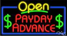 "NEW ""OPEN PAYDAY ADVANCE"" 37x20 BORDER REAL NEON SIGN W/CUSTOM OPTIONS 15549"