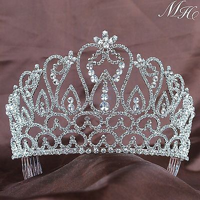 Mini Crown Tiara Hair Combs Clear Rhinestones Crystal Bridal Party Prom