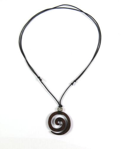 Un collar de estilo surfista collar madera unisex hombres cadena Beach espiral colgante NUEVO
