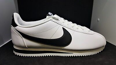 quality design 79cc2 fce8c Nike womens Cortez Classic Leather WHITE BLACK 807471-101 WALKING SHOES SZ  10.5