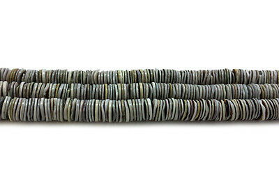 Grey Oyster Shell Heishi Beads (4 - 5 mm, 24 Inches Strand)